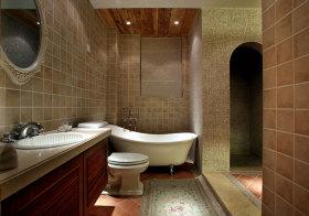 美式小格纹卫生间设计