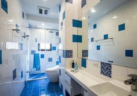 混搭蓝色不规则卫生间设计