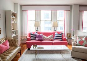 美式粉嫩客厅实景