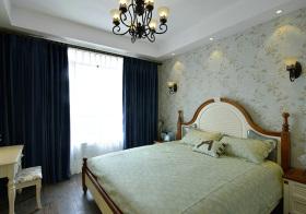 美式淡绿碎花卧室实景