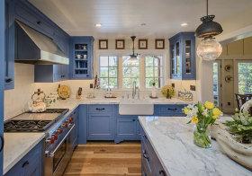 美式优雅蓝色厨房美图