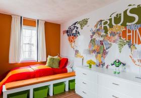 欧式地图儿童房美图