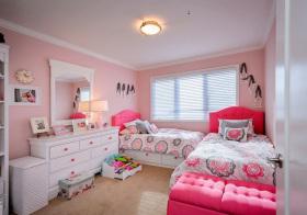 欧式粉色双人儿童房欣赏