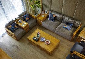 中式木质客厅俯视图