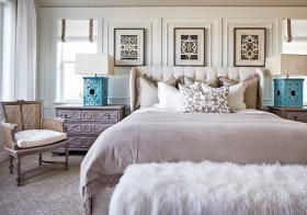 欧式浅色卧室细节