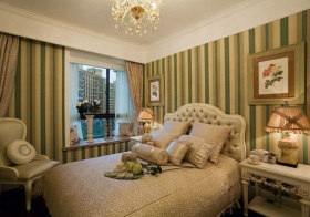 欧式条纹卧室实景