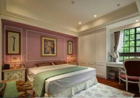 美式粉嫩卧室实景