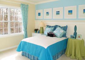 北欧蓝色卧室欣赏