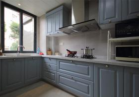 美式浅蓝厨房实景