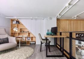 混搭原木二楼书房设计