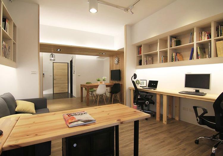 简约木质书房实景