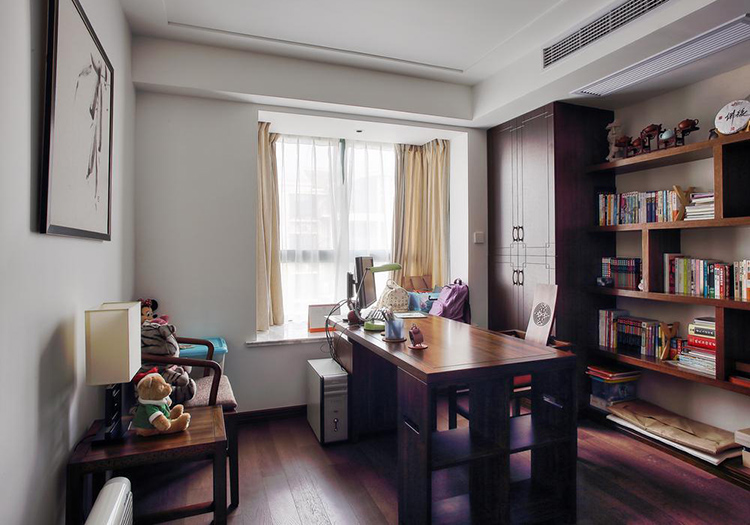 新中式木质书房实景