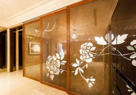 新中式玻璃暗花隔断实景