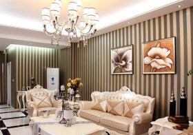 欧式沙发条纹背景墙欣赏