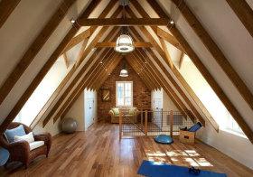 美式木质尖角阁楼美图