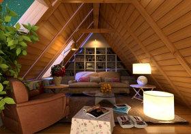 美式木质阁楼效果图