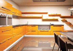 现代黄色橱柜效果图
