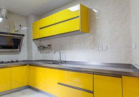 现代明黄色橱柜实景