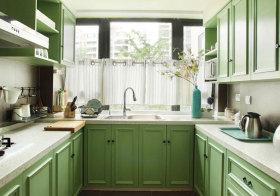美式绿色橱柜美图