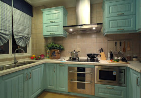 美式天蓝色橱柜设计
