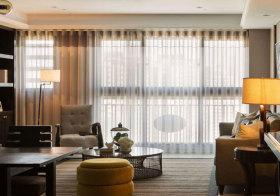 美式素色客厅窗帘欣赏