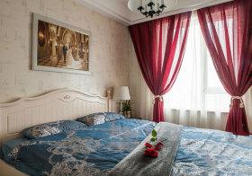 欧式红色纱帘窗帘实景