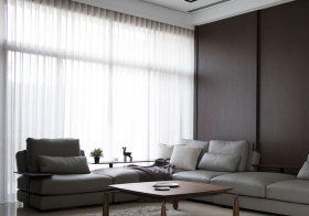 宜家客厅透光素色窗帘欣赏