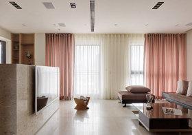 现代粉色窗帘欣赏