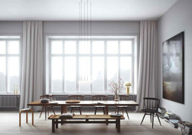 日系素色餐厅窗帘效果图