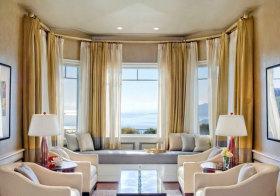东南亚金色圆弧窗帘设计