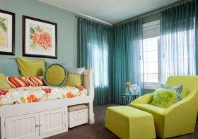 美式绿色窗帘美图鉴赏