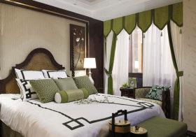 东南亚复古绿色窗帘美图