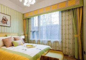 混搭黄色条纹窗帘美图