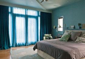 美式蓝色窗帘美图