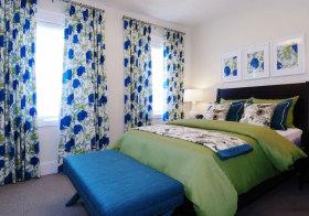 美式蓝色碎花窗帘设计