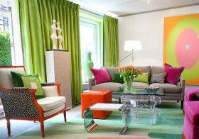 混搭绿色窗帘欣赏