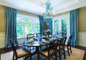 美式奢华蓝色窗帘欣赏