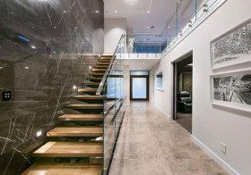 混搭大理石玻璃楼梯美图