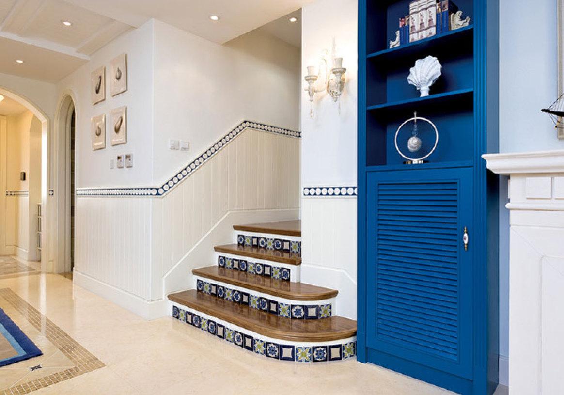 地中海瓷砖楼梯效果图图片