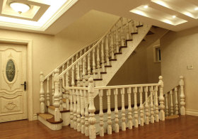 美式象牙木楼梯美图