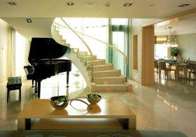 现代玻璃旋转楼梯实景