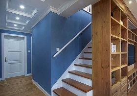 美式蓝色木质楼梯欣赏