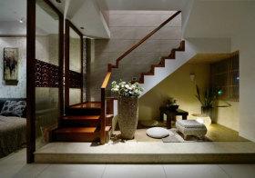 中式木头玻璃楼梯实景