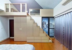 现代衣柜楼梯实景