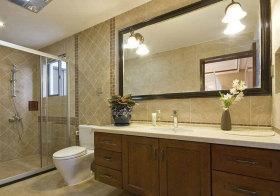新中式复古浴室柜实景