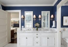 美式深蓝色浴室柜美图