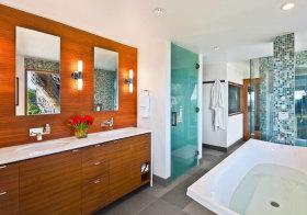东南亚木质浴室柜实景