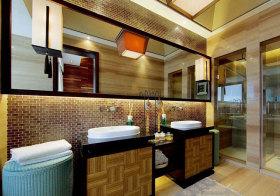 东南亚竹席浴室柜设计