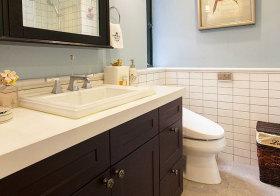 美式褐色浴室柜细节