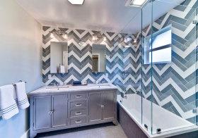 混搭条纹浴室柜欣赏